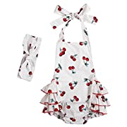 Messy Code Baby Girls Clothes Onesies Boutique Toddlers Ruffle Rompers Jumpsuit, Medium / 12-18Months, White Cherry 1564#