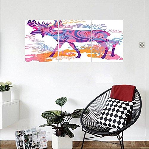 Liguo88 Custom canvas Moose Decor Unusual Deer Figure with Trippy Featured Color Effects Digital Vivid Display Wall Hanging for Bedroom Living Room Mauve Orange