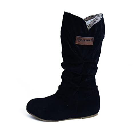 a431acd6c1c13 Amazon.com: Woman knee High Boots Flat Side Pleat Nubuck Motorcycle Suede  Boot Autumn Winter Shoes (US:9, Black): Musical Instruments