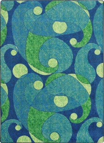 Joy Carpets Kid Essentials Jazzy Teen Area Rugs, 92-Inch by 129-Inch by 0.36-Inch, Blue/Teal (Carpets Rug Joy By)