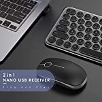 Wireless Keyboard and Mouse Combo, Jelly Comb 2.4G Slim Ergonomic Quiet Keyboard and Mouse with Round Keys for Windows…