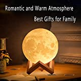 3D Printed Moon Lamp LED Night Light with Stand and Warm & Cool Two Colors and for Baby Kids Lover Birthday Christmas Gifts