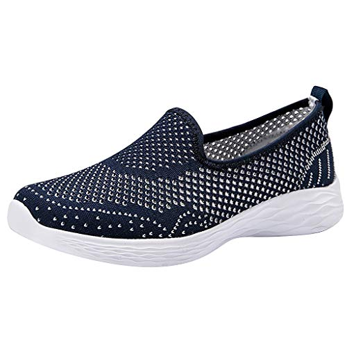 JUSTWIN Women Casual Breathable Sneaker Leisure Mesh Outdoor Sport Running Sport Shoes Blue ()