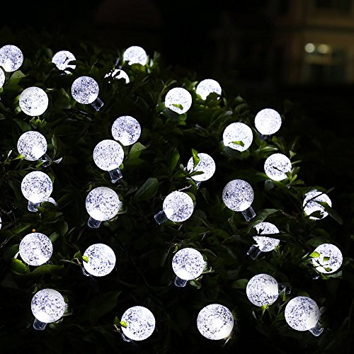 qedertek solar christmas lights 20ft 30 led crystal ball globe lights for outdoor home lawn garden wedding patio party and holiday decorations - Ball Christmas Lights