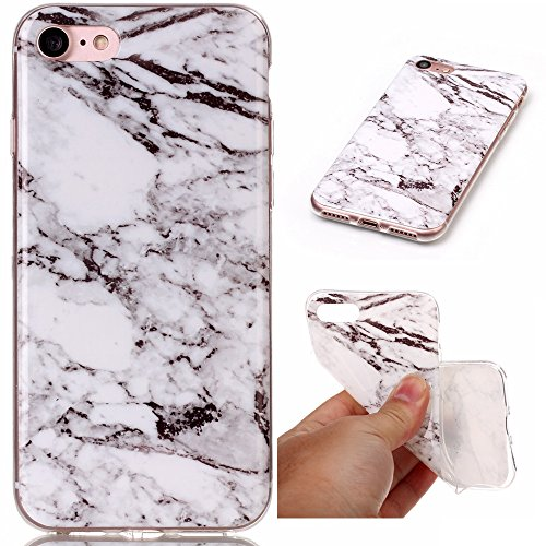 Custodia per iPhone 8 (2017) et iPhone 7 (2016) ,JIENI Protezione TPU Marmo naturale naturale di alta qualità Grigio marrone Morbido Bumper Cover Silicone Case per iPhone 8 (2017) et iPhone 7 (2016)