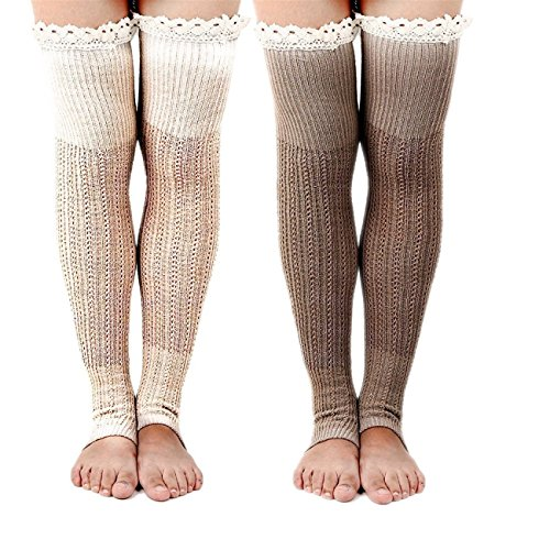 Spring Fever Boot Socks with Lace Trim Cute Leg Warmers(Beige&Khaki) by Spring Fever