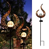 Joiedomi 2 Pack Crackle Glass Globe Metal Solar