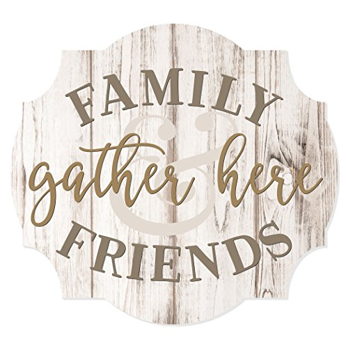 MRC Wood Products Family And Friends Gather Here Scalloped Distressed Sign (Friends Wood Sign)