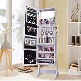 mirrored closet doors Shelving Solutions Jewelry Cabinet Armoire, Mirrored Jewelry Armoire with Stand, White