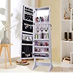 Shelving Solutions Jewelry Cabinet Armoire, Mirrored Jewelry Armoire with Stand, White