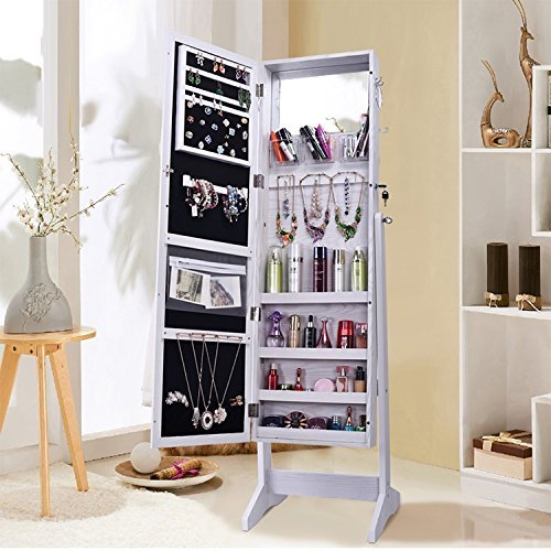 Bedroom Closet Doors (Shelving Solutions Jewelry Cabinet Armoire, Mirrored Jewelry Armoire with Stand, White)