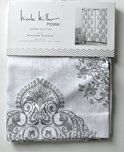 Nicole Miller Medallion Pair Of Curtains In Grey Cream Ash