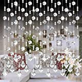 OVERMAL_Accessories 1 Meters Glass Crystal Beads Curtain Window Door Curtain Passage Wedding Decor (Clear, 1M)
