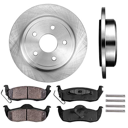 REAR 320 mm Premium OE 5 Lug [2] Brake Disc Rotors + [4] Ceramic Brake Pads + Clips