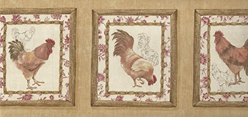 Border Red Rooster (Wallpaper Border Waverly French Country Roosters Red Yellow Brown Beige)