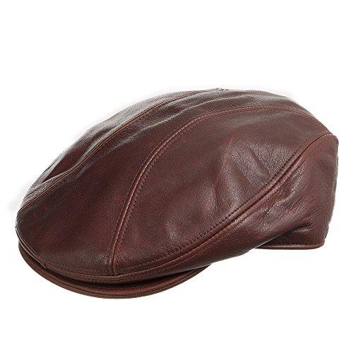 STOCKTON DRIVING Classic Leather Ivy Flat Caps Hat Newsboy Stylish BRANDY 7 1/8 (Eskimo Outfit)