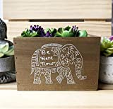 Inspirational Elephant Planter Box, Be Here Now Succulent Planter Decorative Storage Bin