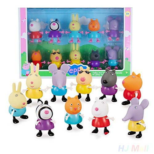 JSM 10pcs Peppa Pig Friends Toys Danny Emily Rebecca Suzy George Pedro Kids Gift Toy