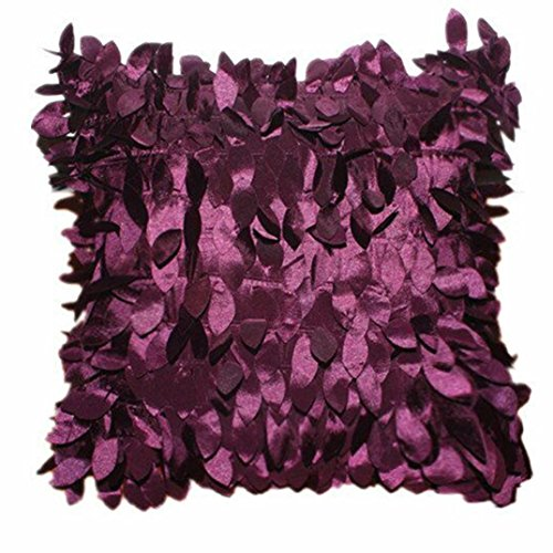 "Clearance!Polyester Square Leaves Feather Pillow Cover Cases Cushion Home Decor 18"" x 18"" (Purple)"