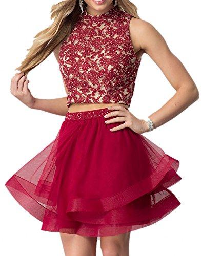 La Dunkel Cocktailkleider mia Rot Braut Festlichkleider Zwei Tanzenkleider Spitze Abendkleider teilig Kurzes Promkleider Mini qwRpAqr