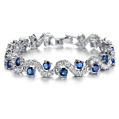 (Tennis Bracelet with Blue Simulated Sapphire Zirconia Crystals 18 ct White Gold Plated for Women 6.7