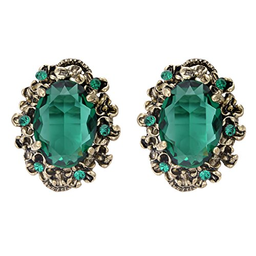 Floral Cameo Earrings (BriLove Women's Victorian Style Crystal Floral Scroll Cameo Inspired Oval Stud Earrings Emerald Color Antique-Gold-Tone)