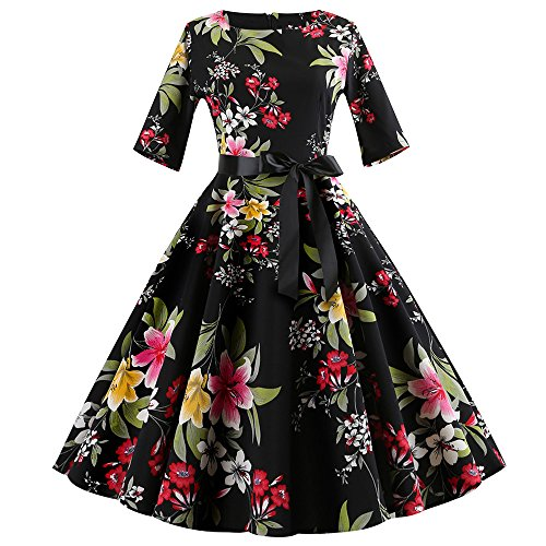 Women Dresses Godathe Women Vintage Print Sleeve Casual Evening Dress Dance Swing Dress S-XXL ()