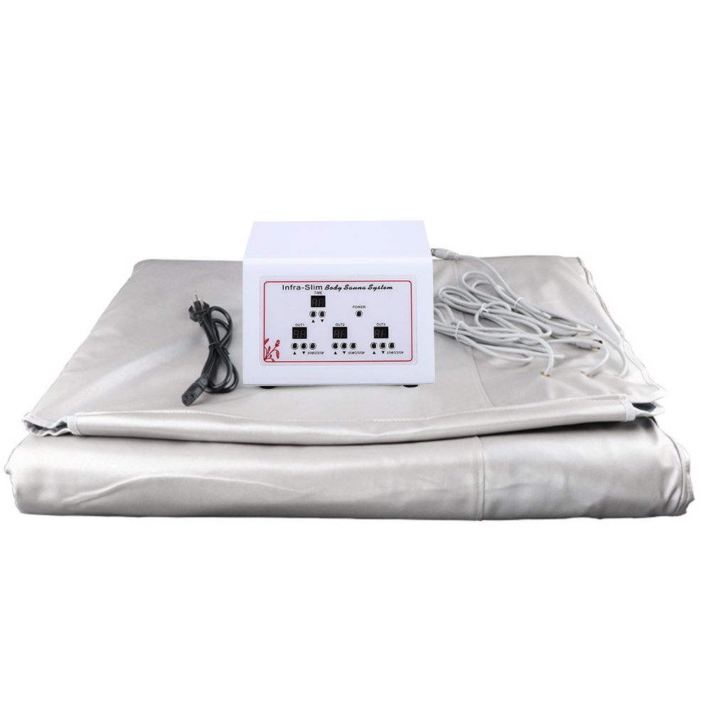 YBUMMO Sauna Blanket, Digital Far-Infrared FIR Heat Blanket with 3 Zone for Helping Weight Lose and Health Care Controller Included