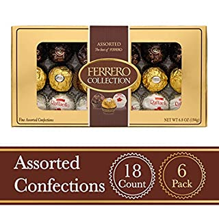 Ferrero Rocher Fine Hazelnut Milk Chocolates, 18 Count, Pack of 6 Individually Wrapped Assorted Coconut Candy and Chocolate Collection Gift Boxes, Perfect Mother's Day Gift for Mom, 6.8 oz