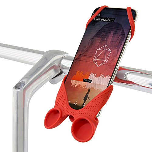 Bike Phone Mount with Integrated Sound Amplifier, Bicycle Handlebar Stroller Cell Phone Smartphone Holder for iPhone XR XS Max X 8 7 Plus Samsung Galaxy S9 S8 Note 9, Bike Tie Speaker Series - Red
