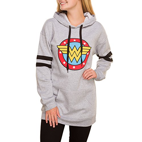 DC Comics Juniors' Wonder Woman Graphic Varsity Stripe Pullover Hoodie (Medium (Juniors Graphic Hoodie)