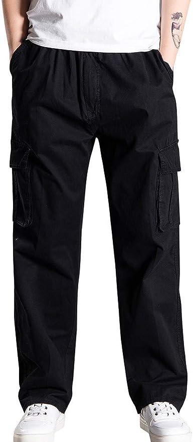 Pantalones de Trabajo de Hombre, Largo Suelto Pantalón Chandal ...