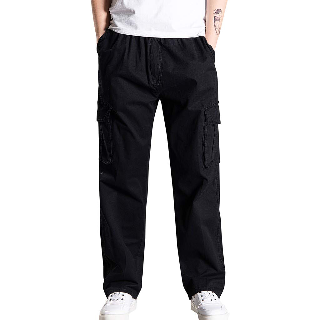 Armfre Bottom Mens Elastic Waist Cargo Pants Relaxed Fit Straight Leg Baggy Chino Trousers Stretch Lightweight Casual Military Workwear Athletic Tatical Pant by Armfre Bottom