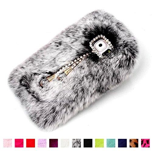 Samsung Case Galaxy S5 Tpu Grey Galaxy S5 Fluffy Fur Case, Fast Jewelry? New Sparkle Crystal Rhinestones Pendant Winter Warm Soft Fluffy Genuine Rex Rabbit Fur Case Protective Cover Fit for Galaxy S5