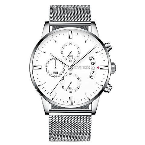KASHIDUN Men's Watch Casual Quartz Waterproof Luminous Chronograph Silver Alloy Steel - Chronograph White Dial