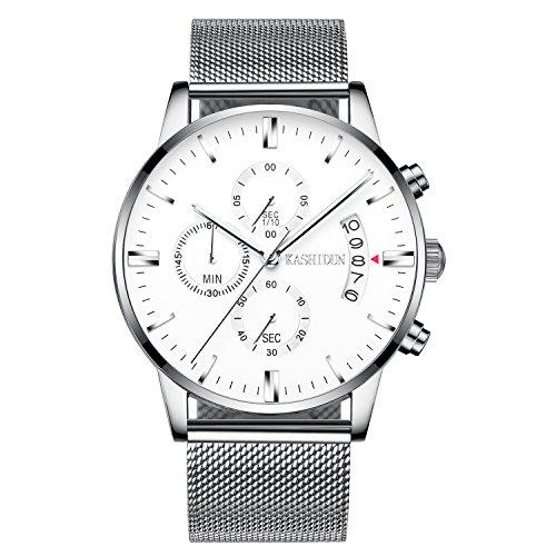 KASHIDUN Men's Watch Casual Quartz Waterproof Luminous Chronograph Silver Alloy Steel Bracelet-White.TL-YBsd (Dial White Mesh Watch)