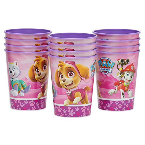 (Nickelodeon Paw Patrol Pink Plastic Cups Paper, 12-Count, Stadium )