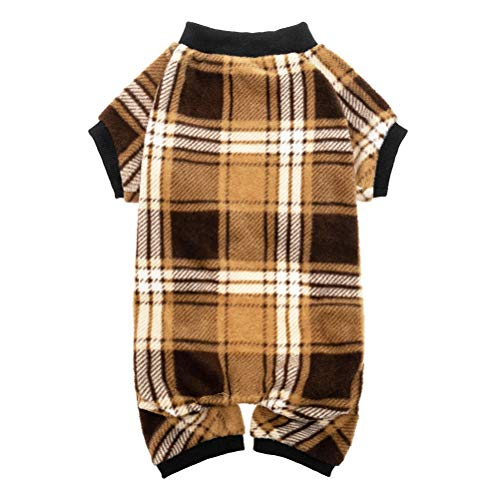 KOOLTAIL Dog Pajamas Plaid Pet Sweater for Winter Doggie Clothes - Soft Warm and Fashion Suitable for Small Medium Large Dogs Puppy