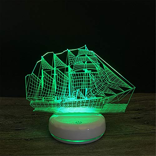 USB Powered Stunning Sailboat 3D Remote Control Optical ILLusion Night Light Luminous White Base Colors Changing Table Desk Lamp Beside Nightlight Toy for Kids Gifts
