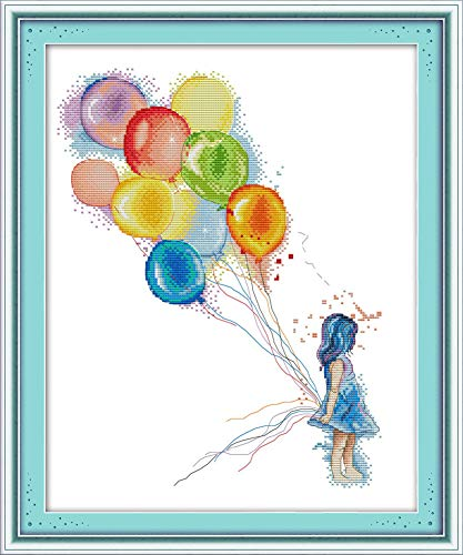 (YEESAM ART New Cross Stitch Kits Advanced Patterns for Beginners Kids Adults - Girl Colorful Balloons - DIY Needlework Wedding Christmas Gifts (Girl, Stamped))