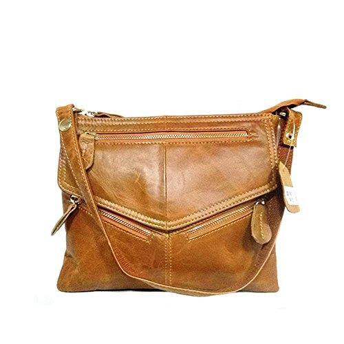 e3453c303a NIGEDU Women Messenger Bags Soft Genuine Leather Crossbody Shoulder Bag  Small Real Leather Handbags (Brown)