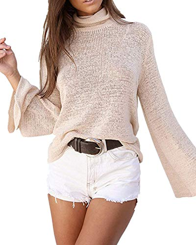 Rela Bota Women's Long Sleeve Turtleneck Casual Sweatshirt Back Lace up Knit Loose Pullover Sweaters Medium Khaki