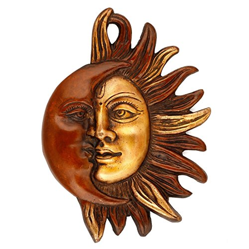 Orange Colored Wall Hanging Sun Moon Half Face Metal Brass Decorative Plate Handmade Wall Decor Christmas Gifts - Hanging Sun Face