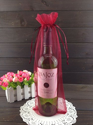 (50pcs Organza Wine Bottle Cover Wrap Gift Bags Christmas/Wedding Plain Organza Pouch (Wine red))