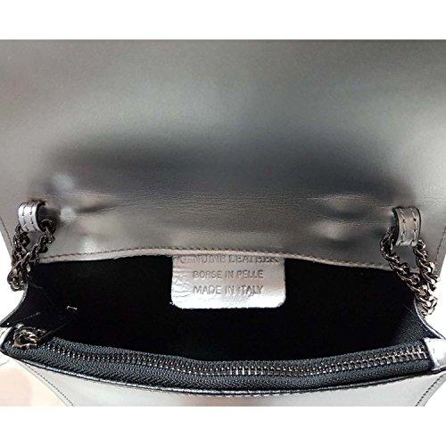 Gloop Damen Clutch echt Leder Tasche Abendtasche mit Kette Handtasche Umhängetasche Made in Italy 1.014.3 Hell Beige