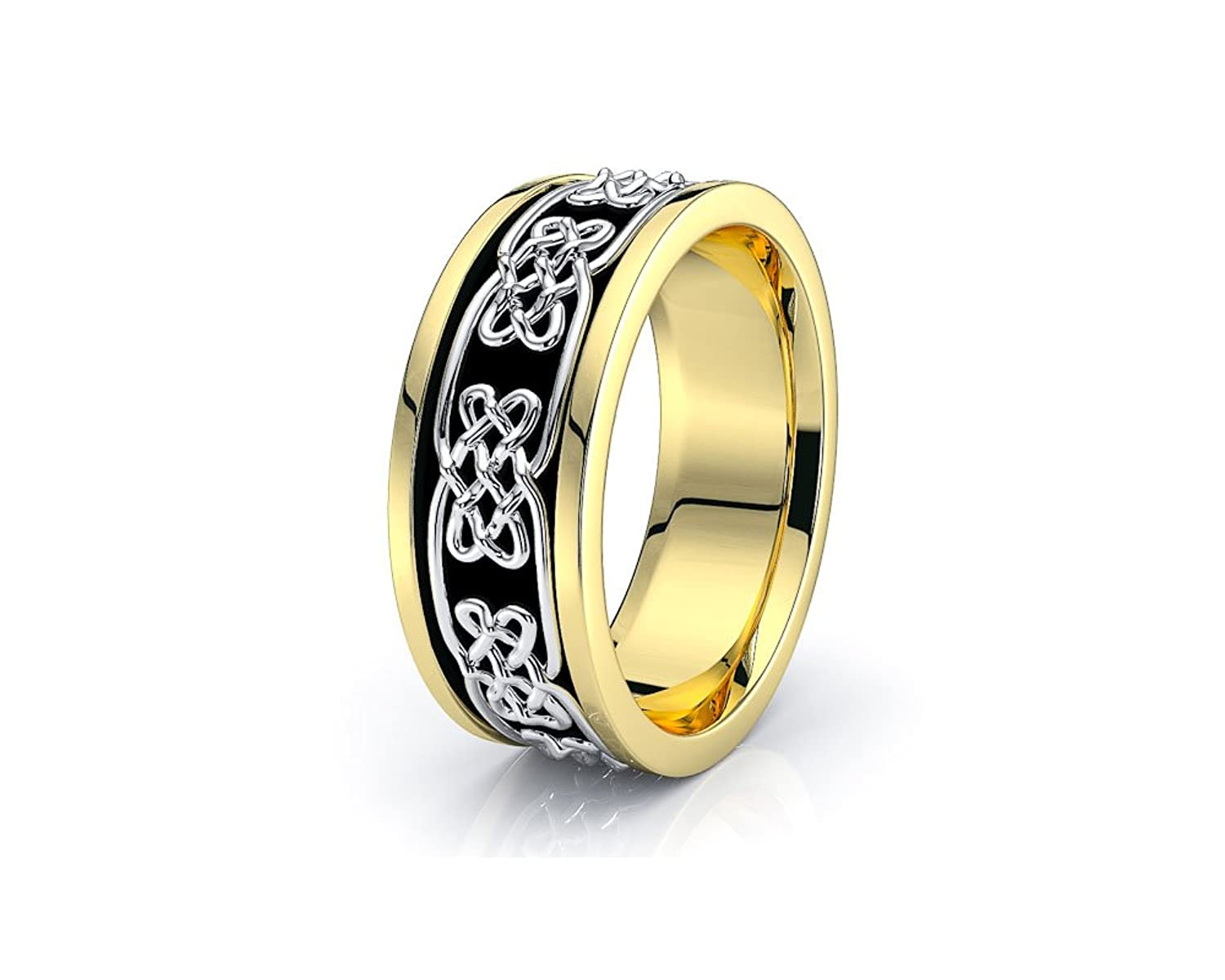 10K White Yellow Gold 7mm Celtic Knot Wedding Band Rings Black Nano Plated