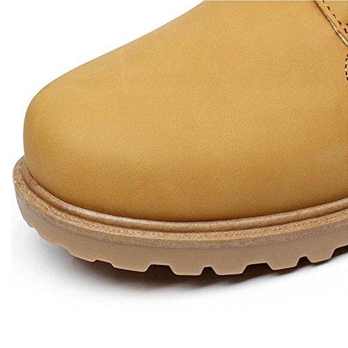 Ying Lan Heren Jongen Winter Warm Casual Schoenen Vintage Antislip Bont Gevoerd Korte Outdoor Martin Enkellaarzen Geel