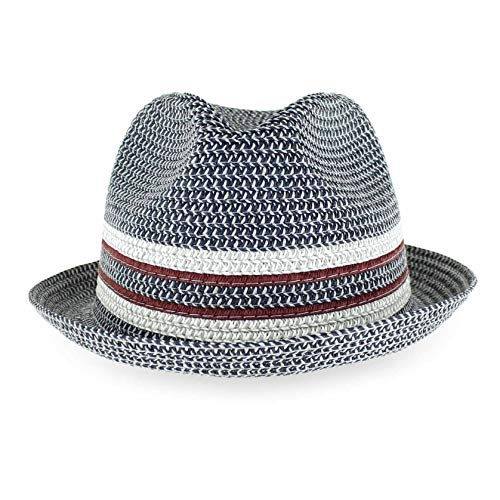 - Belfry Men Women Summer Straw Trilby Fedora Hat in Blue Tan Black (XLarge, DaxNavy)