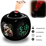 Projection Alarm Clock Wake Up Bedroom with Data and Temperature Display Talking Function, LED Wall/Ceiling Projection, Dinosaur-212.319_Dinosaur, Robot, Jurassic