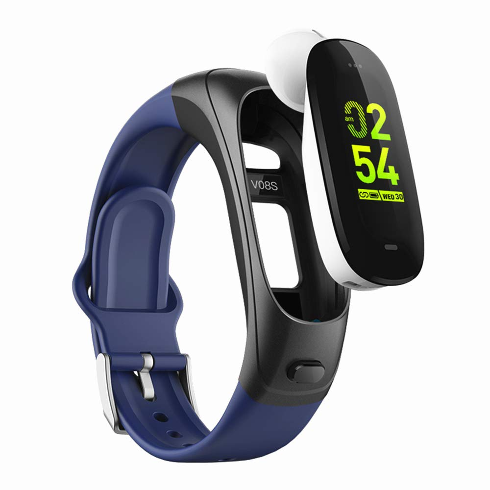 2019 version H3 Smartwatch 3 in1 Smartband Sports Smart Watches with Bluetooth Headsets+ All-Day Heart Rate Blood Pressure Sleep Health Monitor + Activity Tracker Compatible for Android & iphon (Blue)